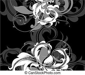 blomstrede, hvid, colours., sort baggrund