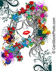 blomstrede, kvinde, silhuet