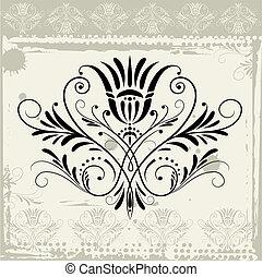 blomstrede, ornamentere, på, grunge, baggrund