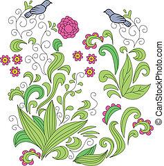 blomstrede, ornamentere