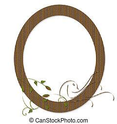 blomstrede, oval indramm, karton, fugl