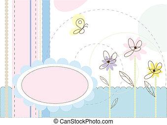 blomstrede, pastel, colours., illustration
