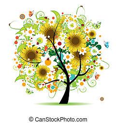 blomstrede, smukke, træ
