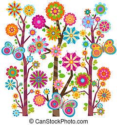 blomstrede, træ, og, sommerfugle