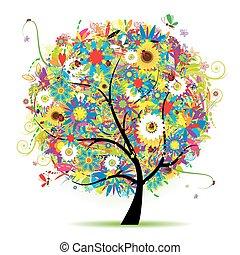 blomstrede, træ, smukke, sommer