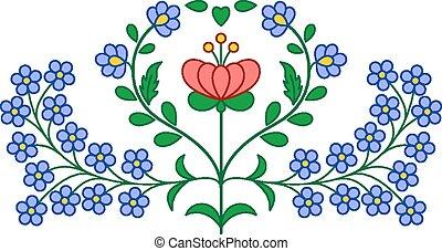 blomstret dekoration, ungarsk, broderi