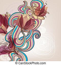 blomstret dekoration, vektor, illustration