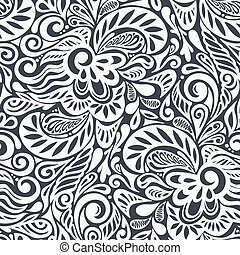 blomstret mønster, abstrakt, seamless, curly