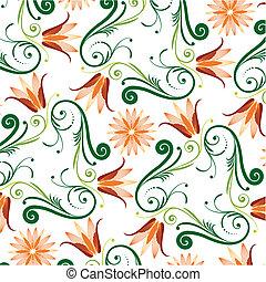 blomstret mønster, på hvide, baggrund