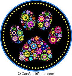 blomstret trykke, dyr, pote