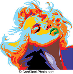 blondýnka, děvče, hledět, jako, marilyn monroe