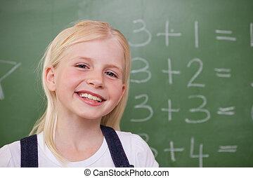 blond, écolière, poser