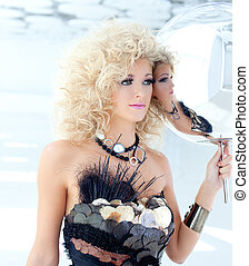 Blond 80s woman with ethnic cancan pearly dress
