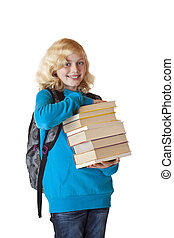 Blond and beautiful girl with backpack holds stack of books and smiles in camera