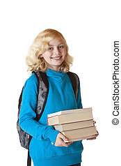 Blond and pretty girl with backbag holds a pile of books and smiles