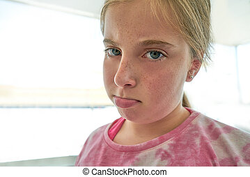 Blond angry lips kid girl expression
