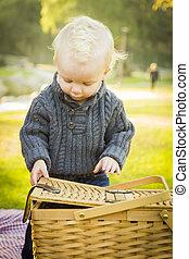 blond, baby- junge, öffnung, picknicken korb, draußen, an, der, park