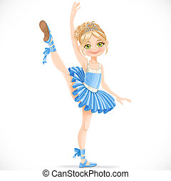 Blond ballerina girl dancing in blue dress isolated on a white background