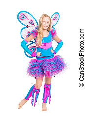 Blond barefooted girl posing in fairy costume. Isolated on white