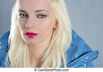 blond beautiful girl portrait red lips blue jacket