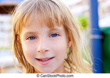 Blond beautiful kid girl portrait