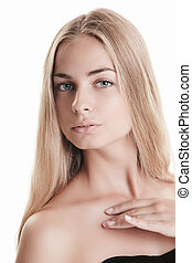 Blond beauty on white