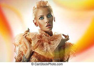 Blond beauty woman on colorful background