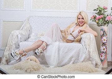 blond, blanc, luxueux, robe, femme