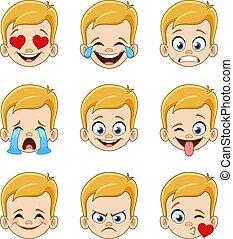 blond, blaues gesicht, junge, augenpaar, ausdrücke, emoji