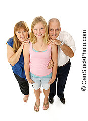 Blond blue eyed family - father, mother, and teen daughter. Full body isolated on white.