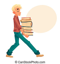 Blond boy carrying a pile of books