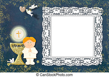 Blond boy First Communion picture frame card.
