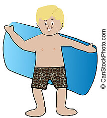 blond boy in swim trunks drying off with towel