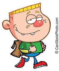 Blond Boy Walking To School - Pleasant Blond Haired School...