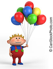 boy with balloons - blond boy with balloons; high quality 3d...