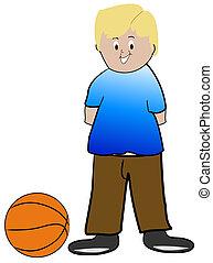 blond boy with basketball - illustration
