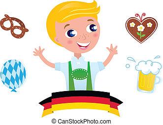 Blond boy with traditional Octoberfest symbols. Vector Illustration.