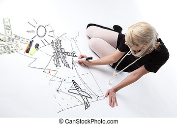 Blond business woman draw vacation isolated