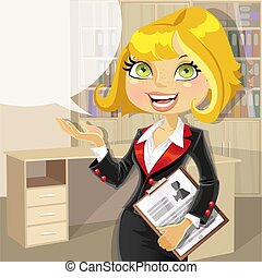 Blond business woman in office with speech bubble