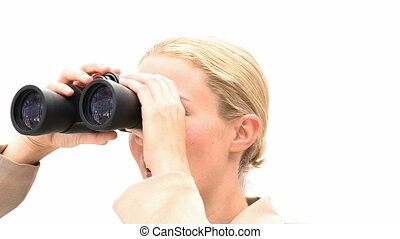 Blond business woman with binocular