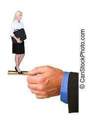 Blond businesswoman holding briefcase