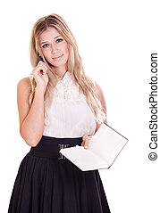 Blond businesswoman with notebook and pen isolated on white