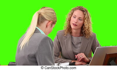 Blond businesswomen speaking during a meeting