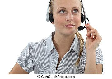 Blond call-center agent