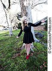 Blond Caucasian Woman Outdoors Black Dress Red Shoes