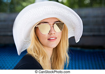 blond, chapeau, blanc, girl
