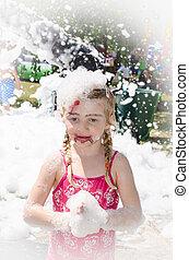 blond child in foam