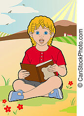 Blond child with a book