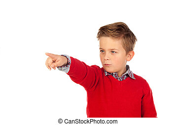 Blond child with red jersey pointing with his finger