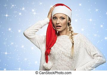 blond christmas girl on stars sky